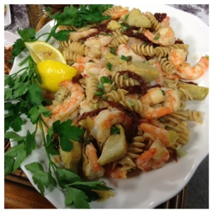 Whole Grain Pasta with Shrimp, Artichokes and Sundried tomatoes